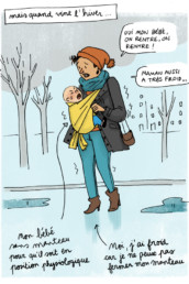 Le cocon bohmy, accessoire de portage bébé, est l'alternative économique au manteau de portage pour protéger bébé du froid, du vent et de la pluie en hiver.